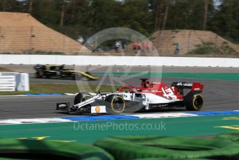 World © Octane Photographic Ltd. Formula 1 – German GP - Practice 1. Alfa Romeo Racing C38 – Kimi Raikkonen and Renault Sport F1 Team RS19 – Daniel Ricciardo. Hockenheimring, Hockenheim, Germany. Friday 26th July 2019.