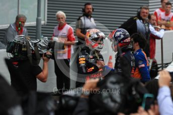 World © Octane Photographic Ltd. Formula 1 – German GP - Parc Ferme. Aston Martin Red Bull Racing RB15 – Max Verstappen and Scuderia Toro Rosso STR14 – Daniil Kvyat. Hockenheimring, Hockenheim, Germany. Sunday 28th July 2019.