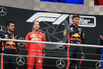 World © Octane Photographic Ltd. Formula 1 – German GP - Podium. Aston Martin Red Bull Racing RB15 – Max Verstappen and Scuderia Ferrari SF90 – Sebastian Vettel. Hockenheimring, Hockenheim, Germany. Sunday 28th July 2019.