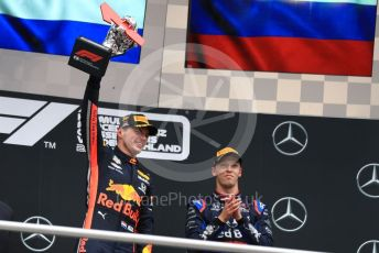 World © Octane Photographic Ltd. Formula 1 – German GP - Podium. Aston Martin Red Bull Racing RB15 – Max Verstappen and Scuderia Toro Rosso STR14 – Daniil Kvyat. Hockenheimring, Hockenheim, Germany. Sunday 28th July 2019.