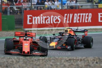 World © Octane Photographic Ltd. Formula 1 – German GP - Race. Scuderia Ferrari SF90 – Sebastian Vettel and Aston Martin Red Bull Racing RB15 – Pierre Gasly. Hockenheimring, Hockenheim, Germany. Sunday 28th July 2019.
