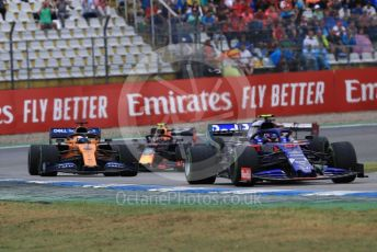 World © Octane Photographic Ltd. Formula 1 – German GP - Race. Scuderia Toro Rosso STR14 – Alexander Albon, McLaren MCL34 – Carlos Sainz and Aston Martin Red Bull Racing RB15 – Pierre Gasly. Hockenheimring, Hockenheim, Germany. Sunday 28th July 2019.