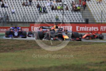 World © Octane Photographic Ltd. Formula 1 – German GP - Race. Aston Martin Red Bull Racing RB15 – Max Verstappen, Scuderia Toro Rosso STR14 – Daniil Kvyat. Hockenheimring, Hockenheim, Germany. Sunday 28th July 2019.
