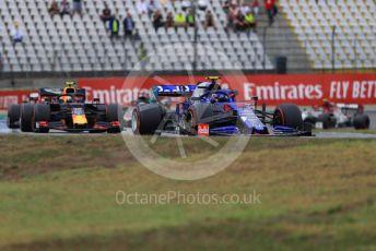 World © Octane Photographic Ltd. Formula 1 – German GP - Race. Scuderia Toro Rosso STR14 – Alexander Albon and Aston Martin Red Bull Racing RB15 – Pierre Gasly. Hockenheimring, Hockenheim, Germany. Sunday 28th July 2019.