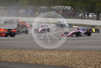 World © Octane Photographic Ltd. Formula 1 – German GP - Race. SportPesa Racing Point RP19 - Sergio Perez runs wide at turn 2. Hockenheimring, Hockenheim, Germany. Sunday 28th July 2019.
