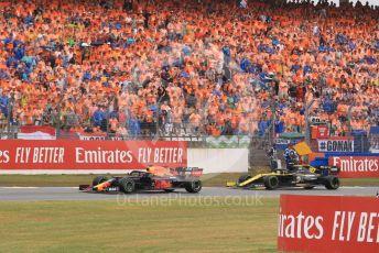 World © Octane Photographic Ltd. Formula 1 – German GP - Race. Aston Martin Red Bull Racing RB15 – Max Verstappen and Renault Sport F1 Team RS19 – Nico Hulkenberg. Hockenheimring, Hockenheim, Germany. Sunday 28th July 2019.