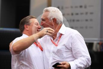 World © Octane Photographic Ltd. Formula 1 - German GP - Paddock. Zak Brown - Executive Director of McLaren Technology Group and Lawrence Stroll - investor, part-owner of SportPesa Racing Point.  celebrate in the post race paddock.  Hockenheimring, Hockenheim, Germany. Sunday 28th July 2019.