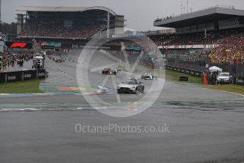 World © Octane Photographic Ltd. Formula 1 – German GP - Race. Mercedes AMG GTs Safety car ahead of Mercedes AMG Petronas Motorsport AMG F1 W10 EQ Power+ - Lewis Hamilton and the following pack. Hockenheimring, Hockenheim, Germany. Sunday 28th July 2019.