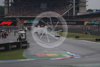 World © Octane Photographic Ltd. Formula 1 – German GP - Race. Safety car deployed ahead of he leading Mercedes AMG Petronas Motorsport AMG F1 W10 EQ Power+ of Lewis Hamilton and the  Aston Martin Red Bull Racing RB15 of Max Verstappen. Hockenheimring, Hockenheim, Germany. Sunday 28th July 2019.