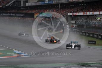 World © Octane Photographic Ltd. Formula 1 – German GP - Race. Lewis Hamilton leads Aston Martin Red Bull Racing RB15 – Max Verstappen and Mercedes AMG Petronas Motorsport AMG F1 W10 EQ Power+ - Valtteri Bottas. Hockenheimring, Hockenheim, Germany. Sunday 28th July 2019.