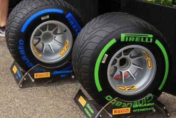 World © Octane Photographic Ltd. Formula 1 - German GP - Paddock. Pirelli Wet and Intermediate tyres. Hockenheimring, Hockenheim, Germany. Sunday 28th July 2019.