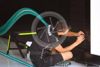World © Octane Photographic Ltd. Formula 1 – Hungarian GP - Pitlane finishing touches. Mercedes AMG Petronas Motorsport AMG F1 W10 EQ Power+. Hungaroring, Budapest, Hungary. Thursday 1st August 2019.