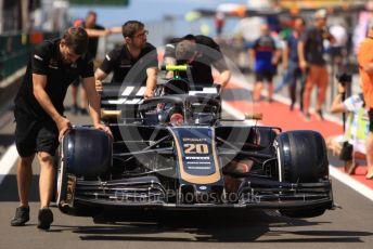 World © Octane Photographic Ltd. Formula 1 – Hungarian GP - Pitlane. Rich Energy Haas F1 Team VF19 – Kevin Magnussen. Hungaroring, Budapest, Hungary. Thursday 1st August 2019.