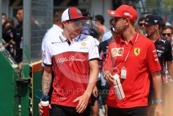 World © Octane Photographic Ltd. Formula 1 – Hungarian GP - Drivers Parade. Scuderia Ferrari SF90 – Sebastian Vettel and Alfa Romeo Racing C38 – Kimi Raikkonen. Hungaroring, Budapest, Hungary. Sunday 4th August 2019.