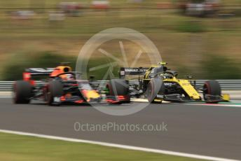 World © Octane Photographic Ltd. Formula 1 – Hungarian GP - Practice 1. Renault Sport F1 Team RS19 – Nico Hulkenberg and Aston Martin Red Bull Racing RB15 – Max Verstappen. Hungaroring, Budapest, Hungary. Friday 2nd August 2019.