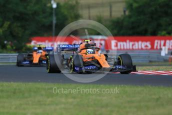 World © Octane Photographic Ltd. Formula 1 – Hungarian GP - Practice 1. McLaren MCL34 – Lando Norris and Carlos Sainz. Hungaroring, Budapest, Hungary. Friday 2nd August 2019.