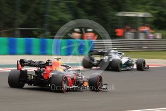 World © Octane Photographic Ltd. Formula 1 – Hungarian GP - Practice 2. Aston Martin Red Bull Racing RB15 – Pierre Gasly and Mercedes AMG Petronas Motorsport AMG F1 W10 EQ Power+ - Valtteri Bottas. Hungaroring, Budapest, Hungary. Friday 2nd August 2019.