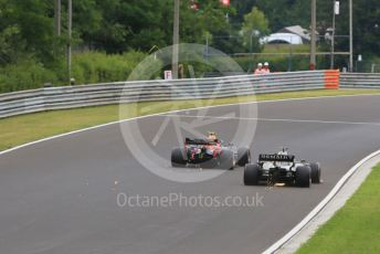 World © Octane Photographic Ltd. Formula 1 – Hungarian GP - Practice 2. Aston Martin Red Bull Racing RB15 – Pierre Gasly and Renault Sport F1 Team RS19 – Daniel Ricciardo. Hungaroring, Budapest, Hungary. Friday 2nd August 2019.
