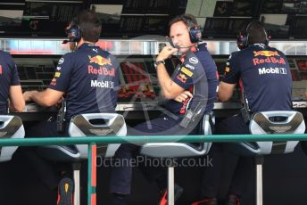 World © Octane Photographic Ltd. Formula 1 - Hungarian GP - Practice 3. Pierre Wache – Technical Director and Christian Horner - Team Principal of Red Bull Racing. Hungaroring, Budapest, Hungary. Saturday 3rd August 2019.