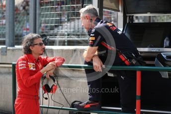 World © Octane Photographic Ltd. Formula 1 - Hungarian GP - Practice 3. Paul Monaghan - Chief Engineer of Red Bull Racing and Laurent Mekies – Sporting Director of Scuderia Ferrari. Hungaroring, Budapest, Hungary. Saturday 3rd August 2019.