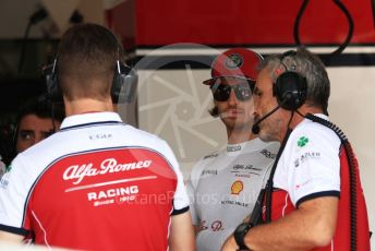 World © Octane Photographic Ltd. Formula 1 – Hungarian GP - Practice 3. Alfa Romeo Racing C38 – Antonio Giovinazzi and Beat Zehnder – Team Manager. Hungaroring, Budapest, Hungary. Saturday 3rd August 2019.