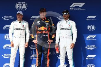 World © Octane Photographic Ltd. Formula 1 – Hungarian GP - Qualifying. Aston Martin Red Bull Racing RB15 – Max Verstappen, Mercedes AMG Petronas Motorsport AMG F1 W10 EQ Power+ - Lewis Hamilton and Valtteri Bottas. Hungaroring, Budapest, Hungary. Saturday 3rd August 2019.