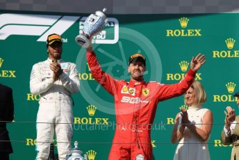 World © Octane Photographic Ltd. Formula 1 – Hungarian GP - Podium. Mercedes AMG Petronas Motorsport AMG F1 W10 EQ Power+ - Lewis Hamilton and Scuderia Ferrari SF90 – Sebastian Vettel. Hungaroring, Budapest, Hungary. Sunday 4th August 2019.