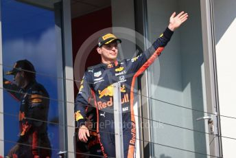 World © Octane Photographic Ltd. Formula 1 – Hungarian GP - Podium. Aston Martin Red Bull Racing RB15 – Max Verstappen. Hungaroring, Budapest, Hungary. Sunday 4th August 2019.
