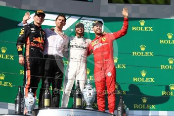 World © Octane Photographic Ltd. Formula 1 – Hungarian GP - Podium. Mercedes AMG Petronas Motorsport AMG F1 W10 EQ Power+ - Lewis Hamilton, Aston Martin Red Bull Racing RB15 – Max Verstappen and Scuderia Ferrari SF90 – Sebastian Vettel. Hungaroring, Budapest, Hungary. Sunday 4th August 2019.