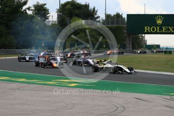 World © Octane Photographic Ltd. FIA Formula 3 (F3) – Hungarian GP – Race 1. ART Grand Prix - Max Fewtrell, Trident - Niko Kari and Hitech Grand Prix - Juri Vips. Hungaroring, Budapest, Hungary. Saturday 3rd August 2019.