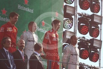 World © Octane Photographic Ltd. Formula 1 – Italian GP - Race Podium. Scuderia Ferrari SF90 – Charles Leclerc, Mercedes AMG Petronas Motorsport AMG F1 W10 EQ Power+ - Valtteri Bottas and Lewis Hamilton. Autodromo Nazionale Monza, Monza, Italy. Sunday 8th September 2019.
