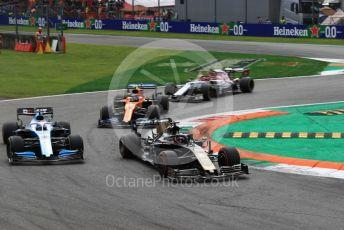 World © Octane Photographic Ltd. Formula 1 – Italian GP - Race. Rich Energy Haas F1 Team VF19 – Romain Grosjean and ROKiT Williams Racing FW 42 – George Russell. Autodromo. Autodromo Nazionale Monza, Monza, Italy. Sunday 8th September 2019.