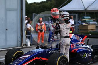 World © Octane Photographic Ltd. Formula 2 – Italian GP - Race 1. Nobuharu Matsushita - Carlin, Nyck De Vries - ART Grand Prix. Autodromo Nazionale Monza, Monza, Italy. Saturday 7th September 2019.