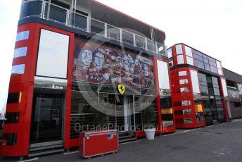 World © Octane Photographic Ltd. Formula 1 – Italian GP - Paddock. Scuderia Ferrari 90 years truck livery. Autodromo Nazionale Monza, Monza, Italy. Thursday 4th September 2019.