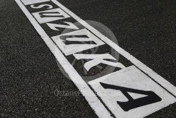 World © Octane Photographic Ltd. Formula 1 – Japanese GP - Grid. Suzuka track finish line script. Suzuka Circuit, Suzuka, Japan. Sunday 13th October 2019.