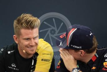 World © Octane Photographic Ltd. Formula 1 – Singapore GP. FIA Drivers Press Conference. Aston Martin Red Bull Racing – Max Verstappen talks with Renault Sport F1 Team – Nico Hulkenberg. Suzuka Circuit, Suzuka, Japan. Thursday 10th October 2019.