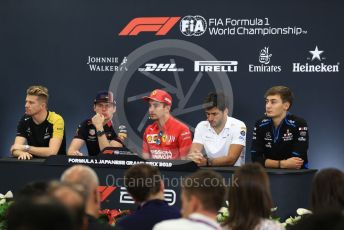 World © Octane Photographic Ltd. Formula 1 – Singapore GP. FIA Drivers Press Conference. Scuderia Ferrari – Charles Leclerc, McLaren – Carlos Sainz, Aston Martin Red Bull Racing– Max Verstappen, Renault Sport F1 Team – Nico Hulkenberg and ROKiT Williams Racing – George Russell. Suzuka Circuit, Suzuka, Japan. Thursday 10th October 2019.