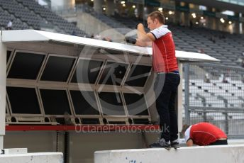 World © Octane Photographic Ltd. Formula 1 – Japanese GP - Evening teardown and Typhoon Hagibis preparations. Alfa Romeo Racing. Suzuka Circuit, Suzuka, Japan. Friday 11th October 2019.