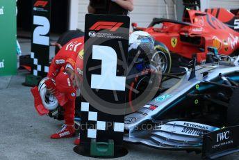 World © Octane Photographic Ltd. Formula 1 – Japanese GP - Parc Ferme. Scuderia Ferrari SF90 – Sebastian Vettel checking out Bottas' Mercedes. Suzuka Circuit, Suzuka, Japan. Sunday 13th October 2019.