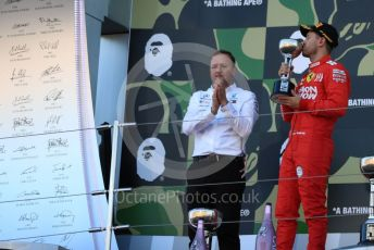 World © Octane Photographic Ltd. Formula 1 – Japanese GP - Podium. Mercedes AMG Petronas Motorsport AMG F1 W10 EQ Power+ Chief Aerodynamicist, Scuderia Ferrari SF90 – Sebastian Vettel. Suzuka Circuit, Suzuka, Japan. Sunday 13th October 2019.