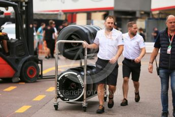 World © Octane Photographic Ltd. Formula 1 – Monaco GP. Track Walk. McLaren MCL34 wheels with Pirelli tyres. Monte-Carlo, Monaco. Wednesday 22nd May 2019.