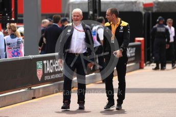 World © Octane Photographic Ltd. Formula 1 - Monaco GP. Practice 3. Helmut Marko - advisor to the Red Bull GmbH Formula One Teams and head of Red Bull's driver development program and Cyril Abiteboul - Managing Director of Renault Sport Racing Formula 1 Team. Monte-Carlo, Monaco. Saturday 25th May 2019.