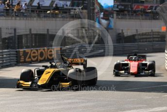 World © Octane Photographic Ltd. FIA Formula 2 (F2) – Monaco GP - Race 2. Virtuosi Racing - Guanyu Zhou and MP Motorsport – Artem Markelov. Monte-Carlo, Monaco. Saturday 25th May 2019.