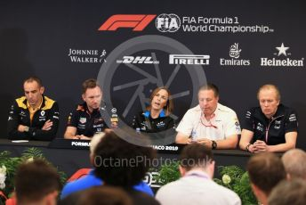 World © Octane Photographic Ltd. Formula 1 - Monaco GP. Thursday FIA Team Press Conference. Cyril Abiteboul - Managing Director of Renault Sport Racing Formula 1 Team, Christian Horner - Team Principal of Red Bull Racing, Claire Williams - Deputy Team Principal of ROKiT Williams Racing,  Zak Brown - Executive Director of McLaren Technology Group and Andy Stevenson – Sporting Director at SportPesa Racing Point. Monte-Carlo, Monaco. Thursday 23rd May 2019.
