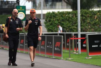 World © Octane Photographic Ltd. Formula 1 - Singapore GP - Paddock. Aston Martin Red Bull Racing RB15 – Max Verstappen and Adrian Newey - Chief Technical Officer of Red Bull Racing. Marina Bay Street Circuit, Singapore. Friday 20th September 2019.