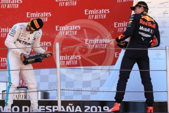 World © Octane Photographic Ltd. Formula 1 – Spanish GP. Podium. Mercedes AMG Petronas Motorsport AMG F1 W10 EQ Power+ - Lewis Hamilton and Aston Martin Red Bull Racing RB15 – Max Verstappen. Circuit de Barcelona Catalunya, Spain. Sunday 12th May 2019.