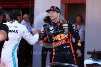 World © Octane Photographic Ltd. Formula 1 – Spanish GP. Parc Ferme. Mercedes AMG Petronas Motorsport AMG F1 W10 EQ Power+ - Lewis Hamilton and Aston Martin Red Bull Racing RB15 – Max Verstappen. Circuit de Barcelona Catalunya, Spain. Sunday 12th May 2019.