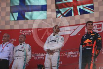 World © Octane Photographic Ltd. Formula 1 – Spanish GP. Podium. Mercedes AMG Petronas Motorsport AMG F1 W10 EQ Power+ - Lewis Hamilton, Valtteri Bottas and Dieter Zetsche – Chairman of the management board of Mercedes  with Aston Martin Red Bull Racing RB15 – Max Verstappen. Circuit de Barcelona Catalunya, Spain. Sunday 12th May 2019.