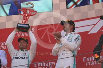 World © Octane Photographic Ltd. Formula 1 – Spanish GP. Podium. Mercedes AMG Petronas Motorsport AMG F1 W10 EQ Power+ - Lewis Hamilton and Valtteri Bottas. Circuit de Barcelona Catalunya, Spain. Sunday 12th May 2019.