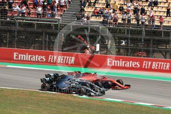 World © Octane Photographic Ltd. Formula 1 – Spanish GP. Race. Mercedes AMG Petronas Motorsport AMG F1 W10 EQ Power+ - Lewis Hamilton and Valtteri Bottas and Scuderia Ferrari SF90 – Sebastian Vettel. Circuit de Barcelona Catalunya, Spain. Sunday 12th May 2019.